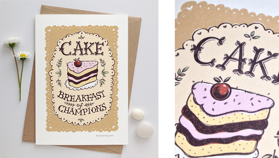 Cake breakfast of champions card