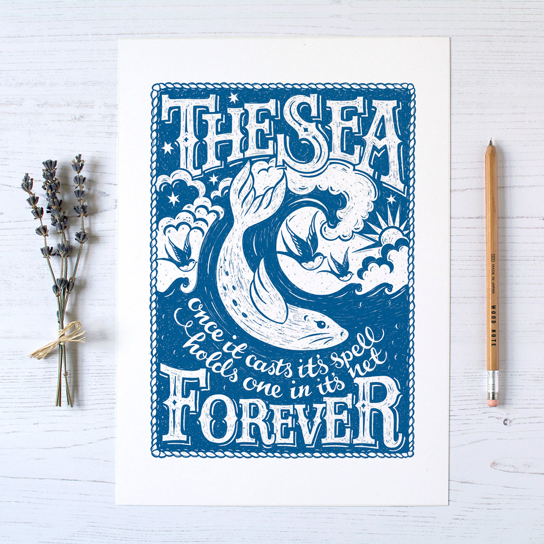 sea.print.hand.lettered