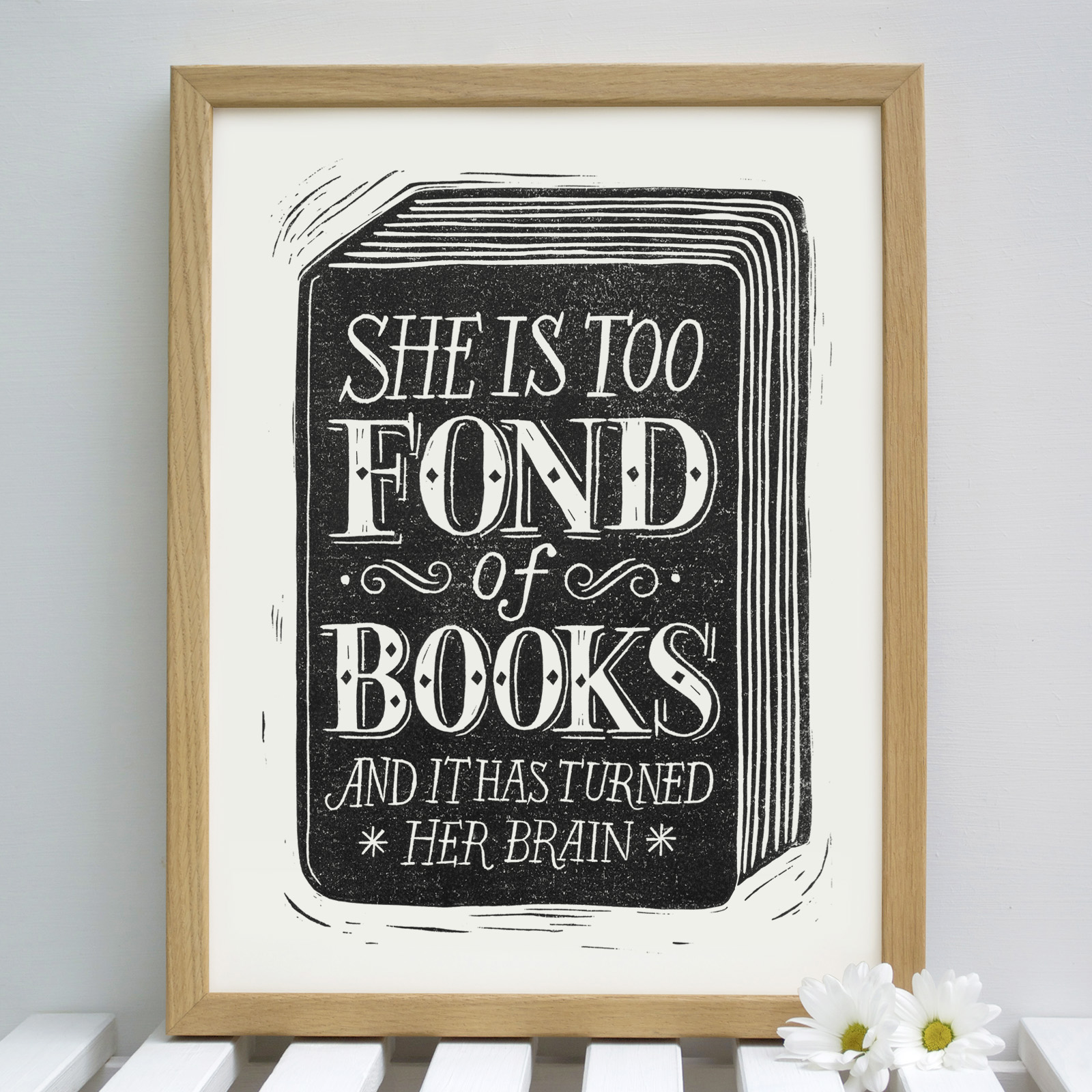 fond.of.books.original.lino.wood.frame
