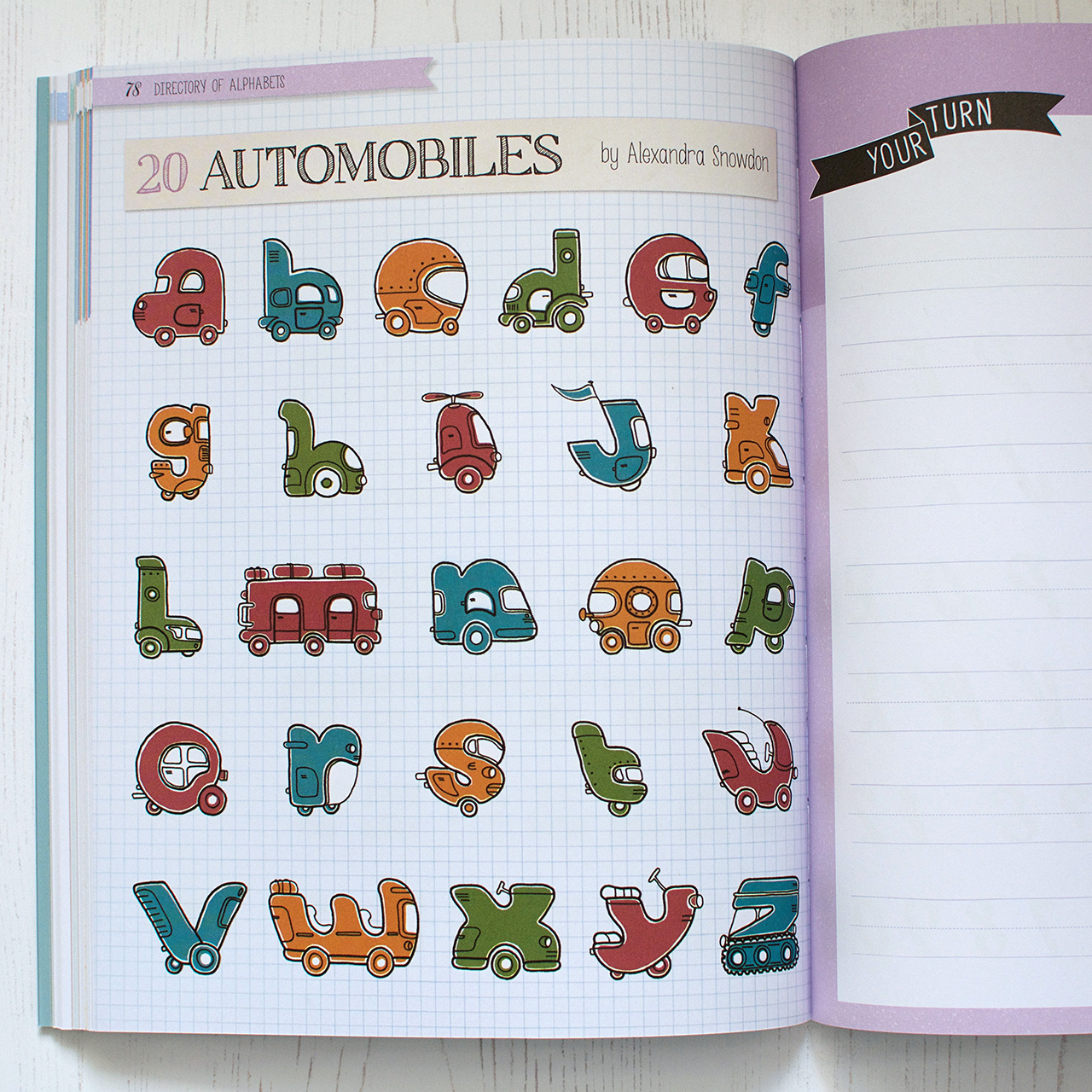 My hand illustrated automobile alphabet.