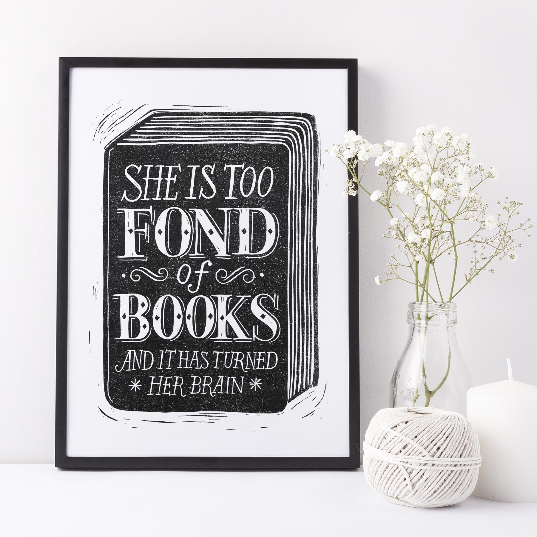 fond.of.books.original.lino.black.frame
