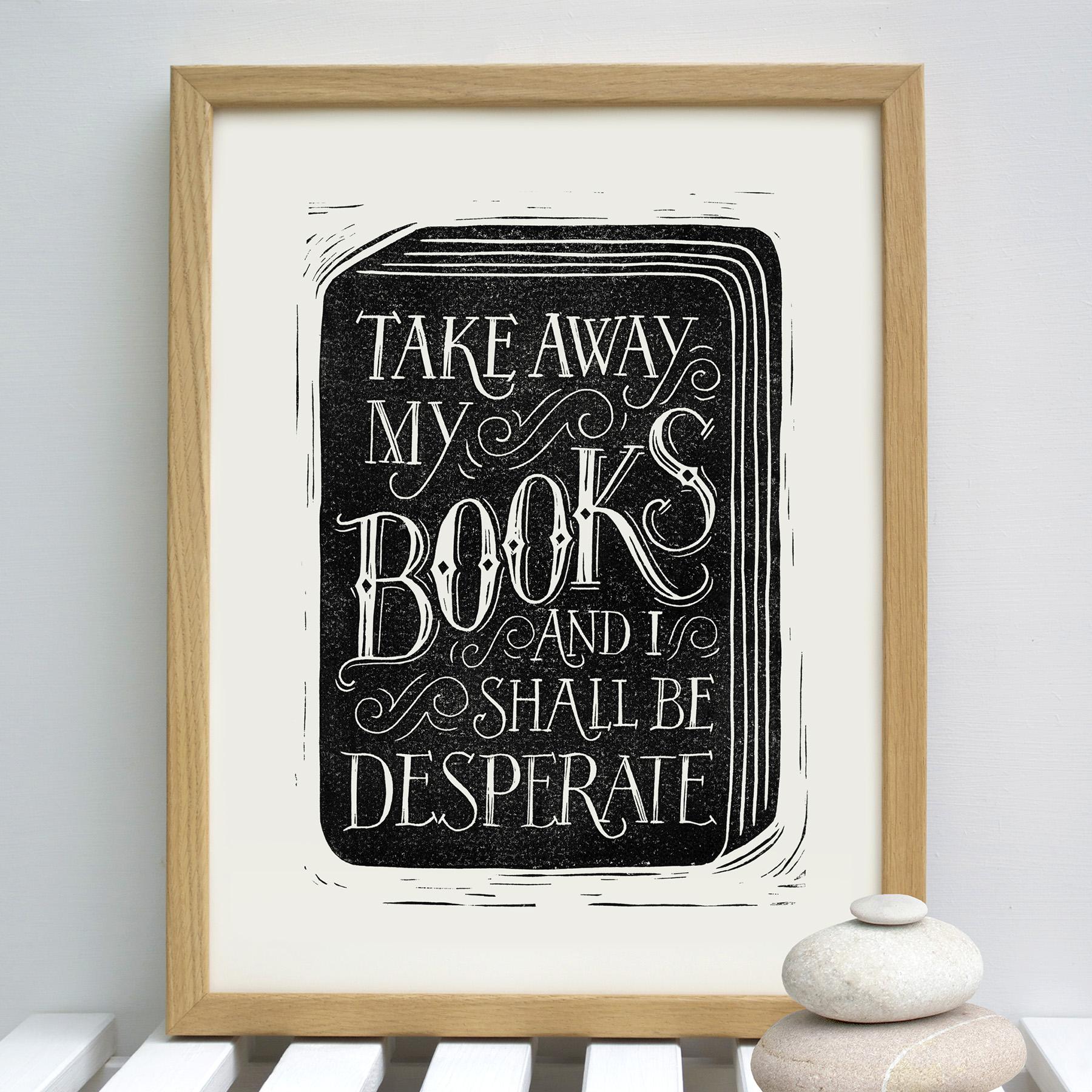 take.away.my.books.wood.frame